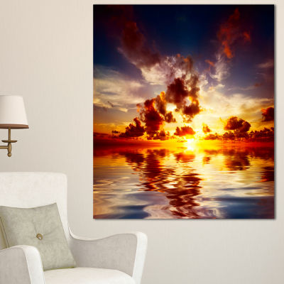 Designart Caribbean Sunset With Beautiful Sky Large Seashore Canvas Wall Art - 3 Panels