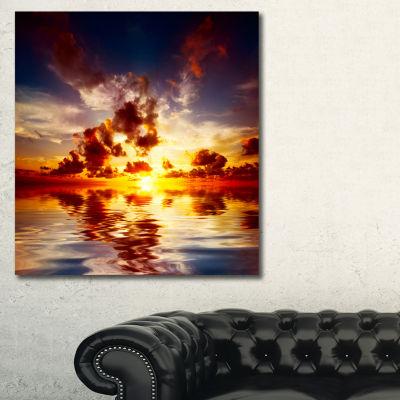 Designart Caribbean Sunset With Beautiful Sky Seashore Canvas Wall Art - 3 Panels