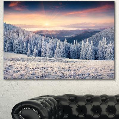 Designart Carpathian Mountains In Winter Large Landscape Canvas Art Print - 3 Panels