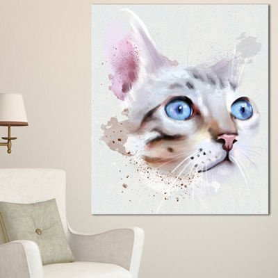 Designart Cat With Blue Eyes Watercolor Animal Canvas Art Print