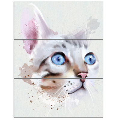 Designart Cat With Blue Eyes Watercolor Animal Canvas Art Print - 3 Panels