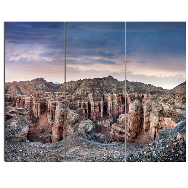 Design Art Charyn Canyon In Kazakhstan Large Landscape Canvas Art - 3 Panels