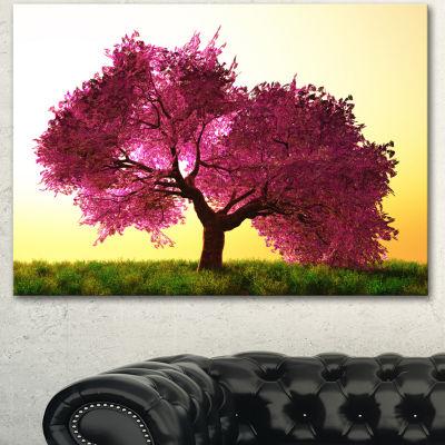 Designart Cherry Blossom In Beautiful Garden Landscape Canvas Art Print - 3 Panels