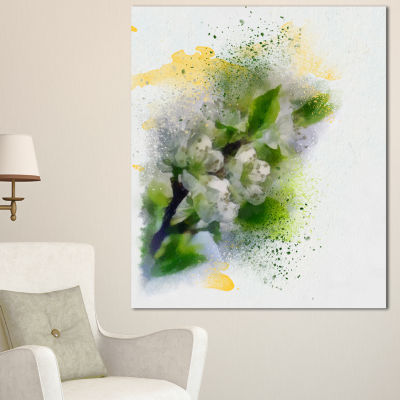 Designart Cherry Branch With Leaves And Flowers Flower Artwork On Canvas - 3 Panels