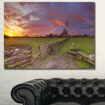 Design Art Church Of Den Hoorn On Texel Island Landscape Canvas Art Print - 3 Panels