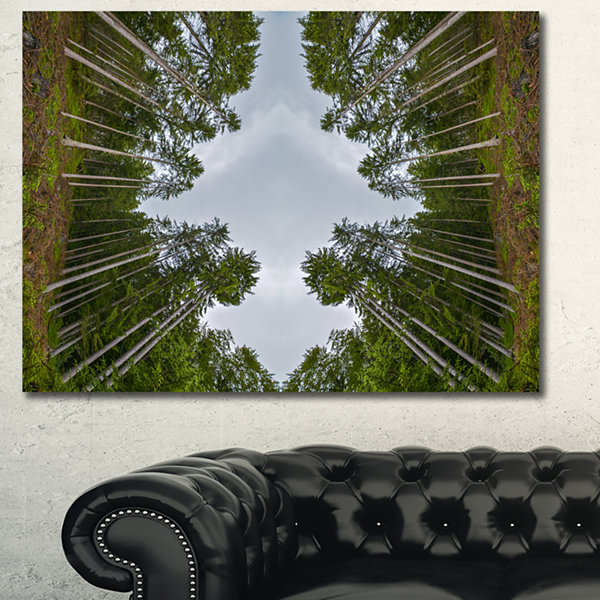 Designart Circle Composition Of Coniferous TreesLandscape Canvas Art Print