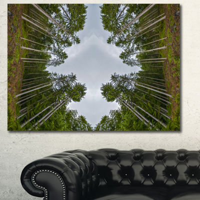 Designart Circle Composition Of Coniferous TreesLandscape Canvas Art Print - 3 Panels
