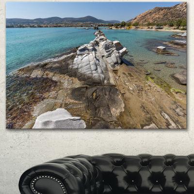 Designart Clean Waters And Rock Formations LargeLandscape Canvas Art - 3 Panels