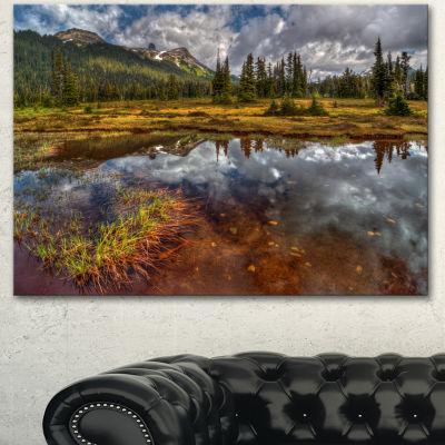 Designart Clear Lake Mirroring Cloudy Skies ExtraLarge Landscape Canvas Art Print - 3 Panels