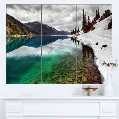 Designart Clear Lake Pine Trees And Mountains Extra Large Landscape Canvas Art Print - 3 Panels