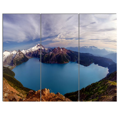 Designart Clear Lake With Bright Sky Extra LargeLandscape Canvas Art Print - 3 Panels