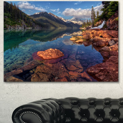 Designart Clear Lake With Distant Mountains ExtraLarge Landscape Canvas Art Print