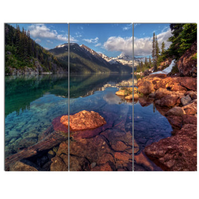 Designart Clear Lake With Distant Mountains ExtraLarge Landscape Canvas Art Print - 3 Panels