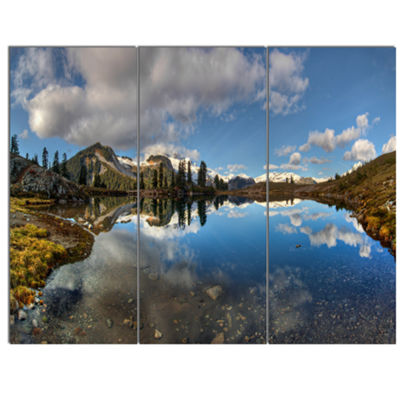 Designart Clear Lake With Pine Trees Panorama Extra Large Landscape Canvas Art Print - 3 Panels