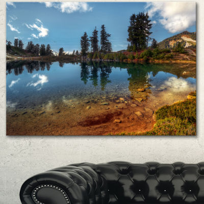 Designart Clear Lake With Row Of Pine Trees ExtraLarge Landscape Canvas Art Print - 3 Panels