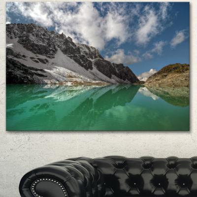 Designart Clear Mountain Lake Under Bright Sky Landscape Canvas Art Print - 3 Panels