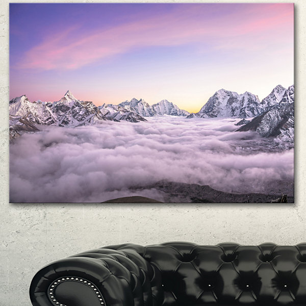 Design Art Clouds Sunrise Ama Dablam Large Landscape Canvas Art - 3 Panels