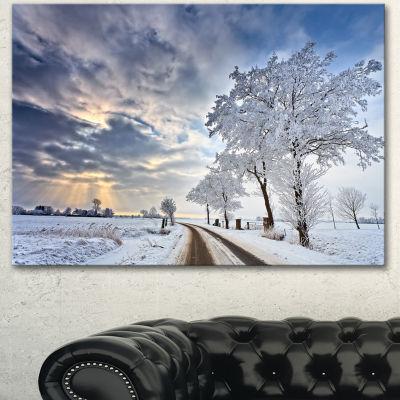 Designart Cloudscape In White Winter Terrain Landscape Canvas Art Print - 3 Panels