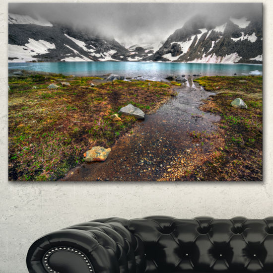 Designart Cloudy Sky Above Mountain Lake LandscapeCanvas Art Print
