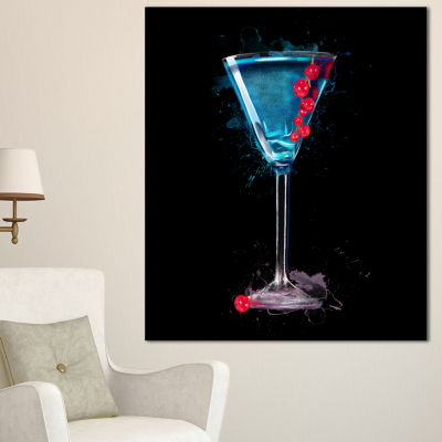 Designart Cocktail Margarita With Berries Modern Canvas Wall Art