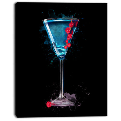 Designart Cocktail Margarita With Berries ModernCanvas Wall Art