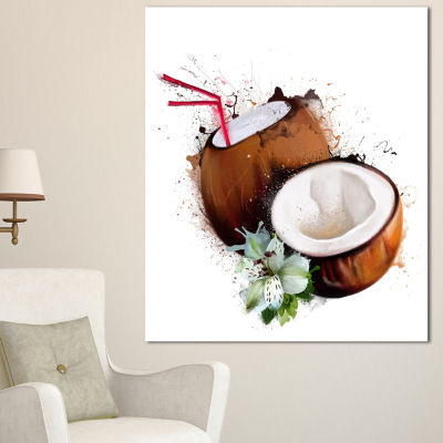 Designart Coconuts With Straw Watercolor Floral Canvas Art Print