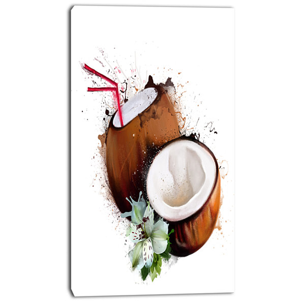 Design Art Coconuts With Straw Watercolor Floral Canvas Art Print