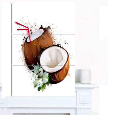 Designart Coconuts With Straw Watercolor Floral Canvas Art Print - 3 Panels