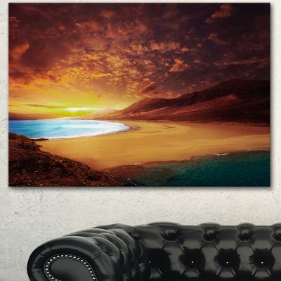 Designart Cofete Beach Fuerteventura Landscape Canvas Art Print - 3 Panels