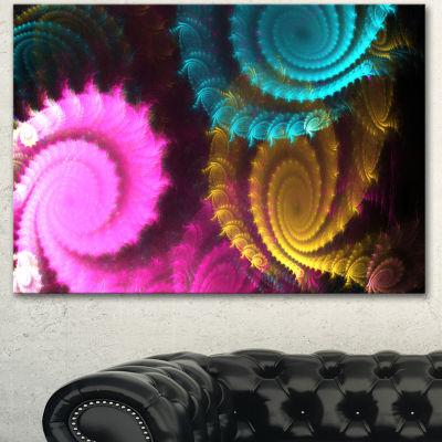 Designart Color Swirl Fractal Abstract BackgroundLarge Abstract Canvas Artwork