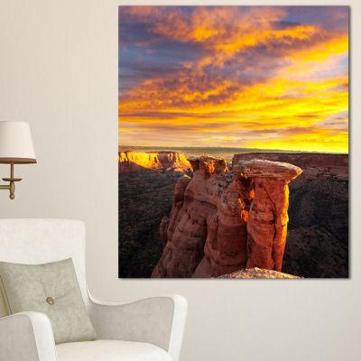 Design Art Colorado Monument At Sunset Modern Landscape Canvas Art - 3 Panels