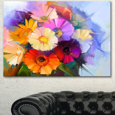 Designart Colored Gerbera Flowers Bouquet Large Floral Canvas Art Print