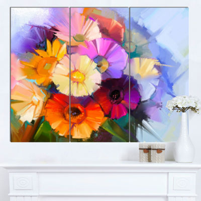 Designart Colored Gerbera Flowers Bouquet Large Floral Canvas Art Print - 3 Panels