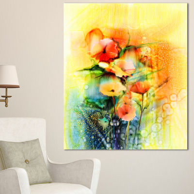 Designart Colored Watercolor Flowers On Yellow Large Floral Canvas Art Print - 3 Panels