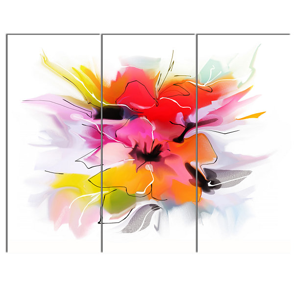 Designart Colorful Abstract Flowers On White ExtraLarge Floral Wall Art - 3 Panels