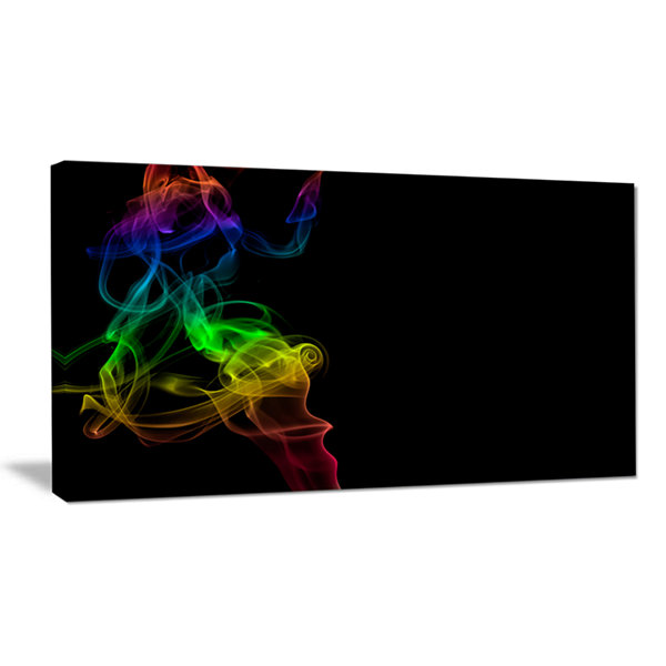 Designart Colorful Abstract Smoke Waves Large Abstract Canvas Wall Art