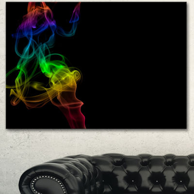 Designart Colorful Abstract Smoke Waves Large Abstract Canvas Wall Art - 3 Panels