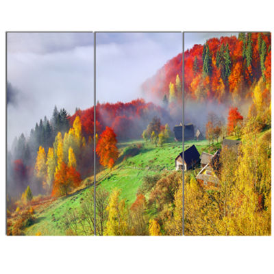 Designart Colorful Autumn Landscape In MountainsLarge Landscape Canvas Art Print - 3 Panels