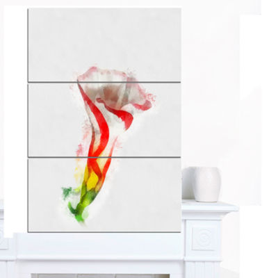 Designart Colorful Bell Flower Sketch WatercolorLarge Floral Canvas Artwork - 3 Panels
