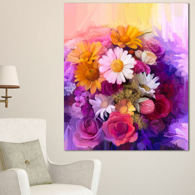 Designart Colorful Bouquet Of Different Flowers Floral Canvas Art Print - 3 Panels