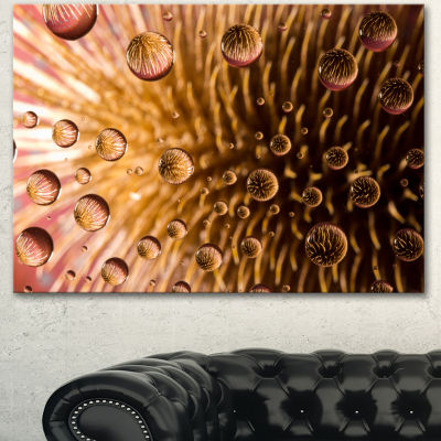 Design Art Colorful Brown Flower In Raindrops LargeFloral Canvas Artwork - 3 Panels