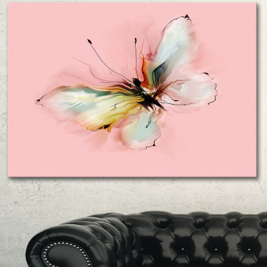 Designart Colorful Butterfly Drawing Extra Large Floral Wall Art