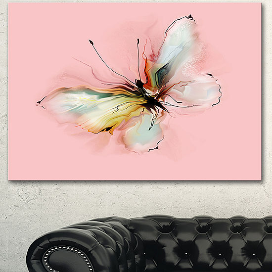 Designart Colorful Butterfly Drawing Extra LargeFloral Wall Art