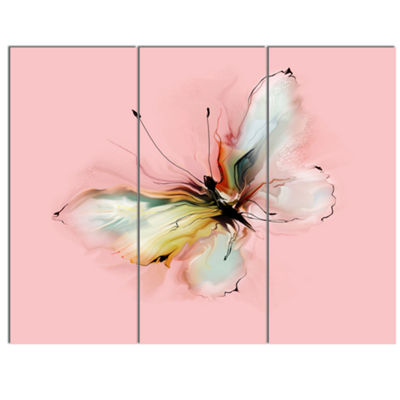 Designart Colorful Butterfly Drawing Extra LargeFloral Wall Art - 3 Panels