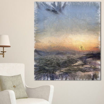 Designart Colorful Dawn Over Sea Watercolor Landscape Canvas Wall Art
