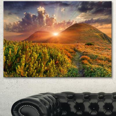 Design Art Colorful Fall Landscape In Mountains Large Landscape Canvas Art Print - 3 Panels