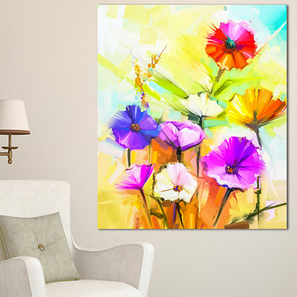Designart Colorful Gerbera Flowers Painting LargeFloral Canvas Artwork