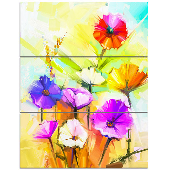 Designart Colorful Gerbera Flowers Painting LargeFloral Canvas Artwork - 3 Panels