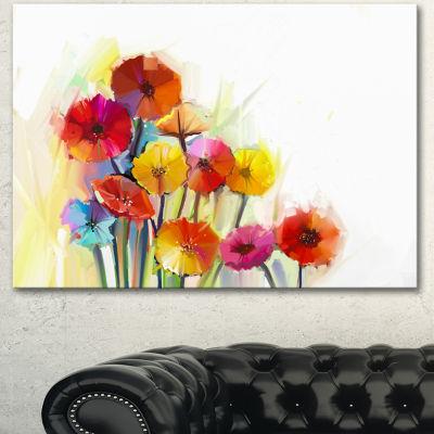 Design Art Colorful Gerbera Flowers Watercolor Large Floral Canvas Artwork - 3 Panels
