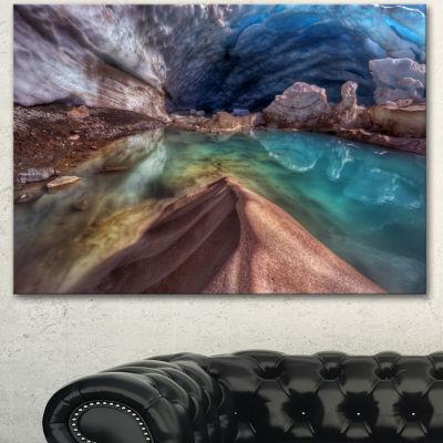 Designart Colorful Glacier Cave Extra Large Landscape Canvas Art Print - 3 Panels